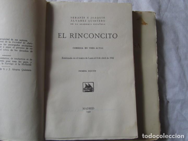 Libros antiguos: 2 obras de teatro, El Rinconcito + El peligro rosa, 1932, Serafín y Joaquín Álvarez Quintero - Foto 6 - 244839120