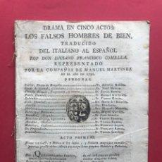 Libros antiguos: XVIII - LOS FALSOS HOMBRES DE BIEN - LICIANO FRANCISCO COMELLA - COMPAÑIA DE MANUEL MARTINEZ, 1790. Lote 246496410