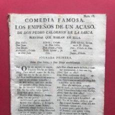 Libros antiguos: XVIII - COMEDIA FAMOSA - LOS EMPEÑOS DE UN ACASO - PEDRO CALDERON DE LA BARCA. Lote 246502555