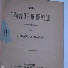Libros antiguos: EL TEATRO POR DENTRO. 1879. EDUARDO SACO. LIBRERIA DE A. DE SAN MARTIN.MADRID.. Lote 249559905