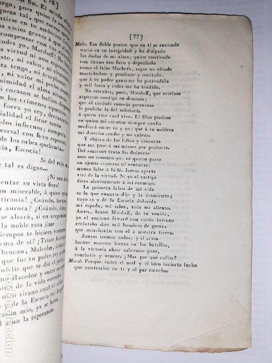 Libros antiguos: La 1ª traducción de Shakespeare desde el inglés al castellano. - Macbeth, drama histórico. - 1838 - Foto 8 - 251098450
