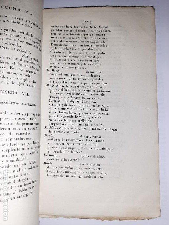Libros antiguos: La 1ª traducción de Shakespeare desde el inglés al castellano. - Macbeth, drama histórico. - 1838 - Foto 7 - 251098450