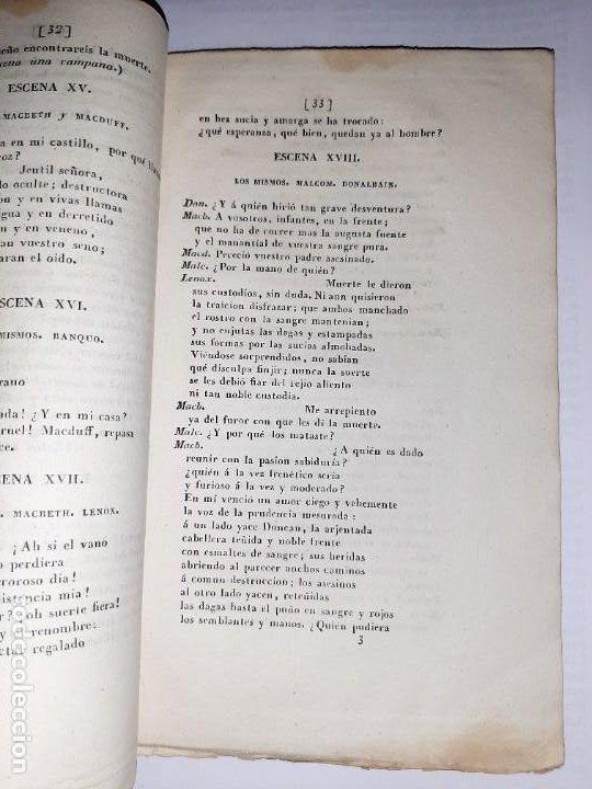 Libros antiguos: La 1ª traducción de Shakespeare desde el inglés al castellano. - Macbeth, drama histórico. - 1838 - Foto 6 - 251098450