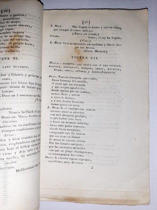 Libros antiguos: La 1ª traducción de Shakespeare desde el inglés al castellano. - Macbeth, drama histórico. - 1838 - Foto 5 - 251098450