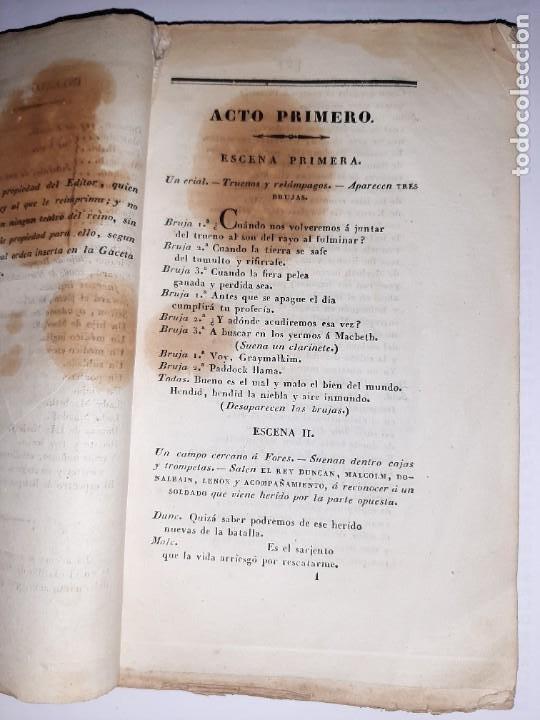 Libros antiguos: La 1ª traducción de Shakespeare desde el inglés al castellano. - Macbeth, drama histórico. - 1838 - Foto 4 - 251098450