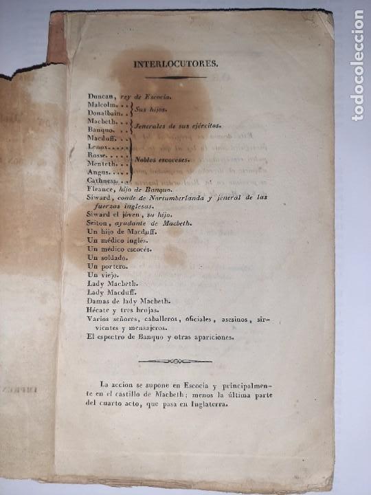 Libros antiguos: La 1ª traducción de Shakespeare desde el inglés al castellano. - Macbeth, drama histórico. - 1838 - Foto 3 - 251098450