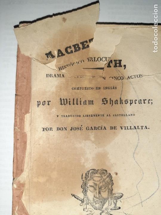 Libros antiguos: La 1ª traducción de Shakespeare desde el inglés al castellano. - Macbeth, drama histórico. - 1838 - Foto 2 - 251098450