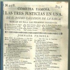 Livres anciens: 4180.-TEATRO SIGLO XVIII-CALDERON DE LA BARCA-COMEDIA FAMOSA-LAS TRES JUSTICIAS EN UNA. Lote 252366510