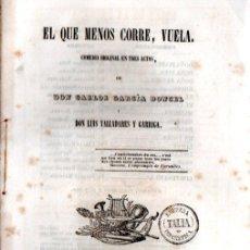 Libros antiguos: CARLOS GARCÍA DONCEL / LUIS VALLADARES Y GARRIGA : EL QUE MENOS CORRE, VUELA (JORDAN, 1847). Lote 253969885