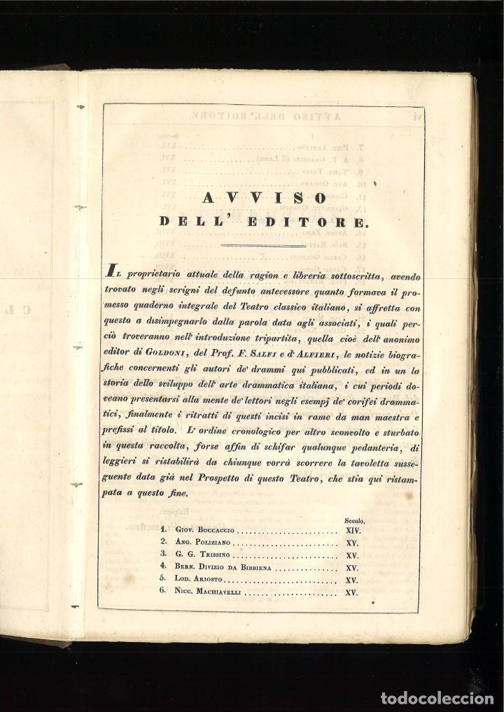 Libros antiguos: TEATRO CLASSICO ITALIANO ANTIGUO E MODERNO, OVVERO IL PARNASSO TEATRALE. - Foto 3 - 261569780