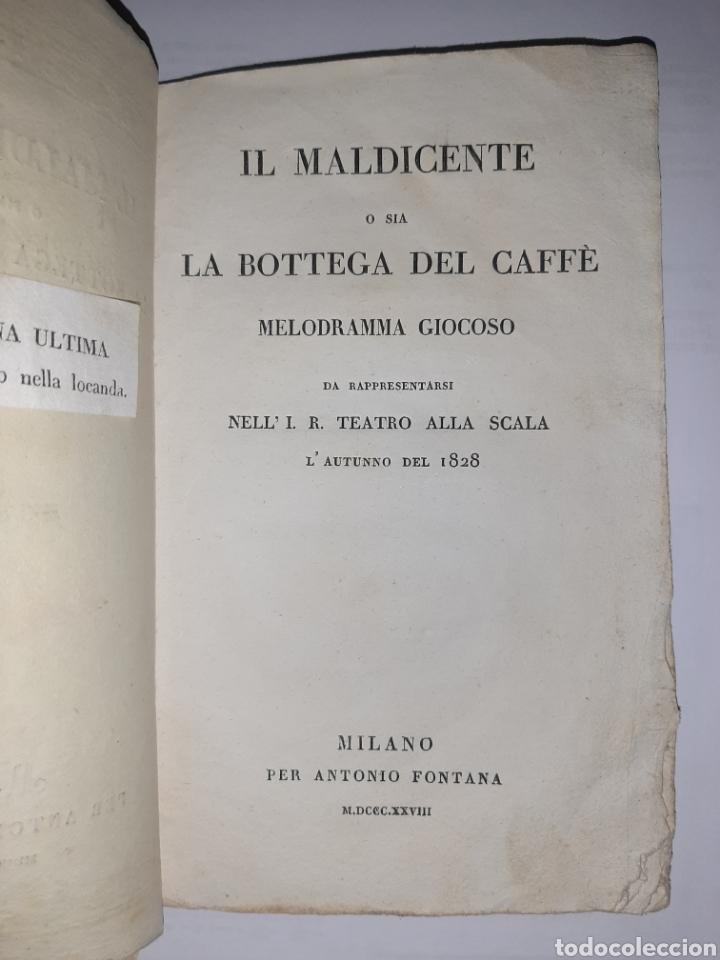 Libros antiguos: Il maldicente o sia la bottega del caffé. Acción en Nápoles. Milán, Fontana, 1828. Raro - Foto 2 - 262651270