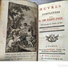 Livres anciens: AÑO 1777: LAS OBRAS DE TEATRO DE SAINT FOIX. LIBRO DEL SIGLO XVIII.. Lote 266405288
