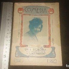 Libros antiguos: LIBRITO ANTIGUO COMEDIA 1922 , UNA SEÑORA, D JACINTO BENAVENTE , AÑO 1 NUMERO 3 , LEER DESCRIPCION. Lote 270682418