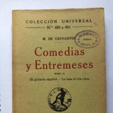 Libros antiguos: MIGUEL DE CERVANTES - COMEDIAS Y ENTREMESES - TOMO II - MADRID 1921. Lote 274761313