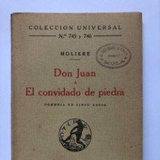 Libros antiguos: MOLIERE : DON JUAN O EL CONVIDADO DE PIEDRA (CALPE, 1923). Lote 274769338
