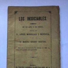 Libros antiguos: LOS INSOCIABLES. ÁNGEL MONDÉJAR Y MENDOZA Y MANUEL GENARO RENTERO. COMEDIA EN UN ACTO Y EN PROSA.. Lote 274792138