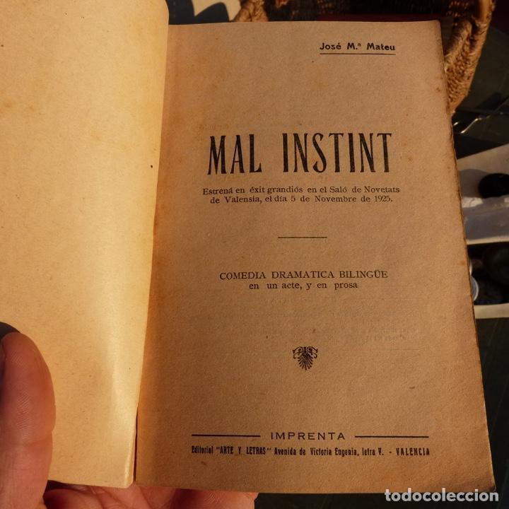 Libros antiguos: Mal instint, galeria de obres valencianes, j m mateu, valencia 1925, comedia dramatica bilingue - Foto 2 - 276960453