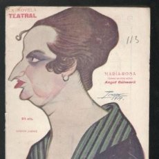 Libros antiguos: GUIMERA, ANGEL: MARIA-ROSA. MADRID, LA NOVELA TEATRAL Nº113 1919.. Lote 112439523