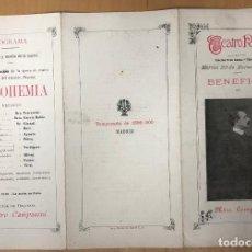 Libros antiguos: TEATRO REAL. FUNCION BENEFICIO DEL MAESTRO CAMPANINI. 20 DE MARZO DE 1900. LA BOHEMIA. Lote 278212708