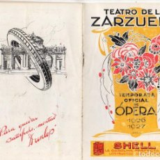 Libros antiguos: TEATRO LA ZARZUELA. MADRID. TEMPORADA OFICIAL DE OPERA 1926-1927. FRANCESCA DA RIMINI. Lote 278323888