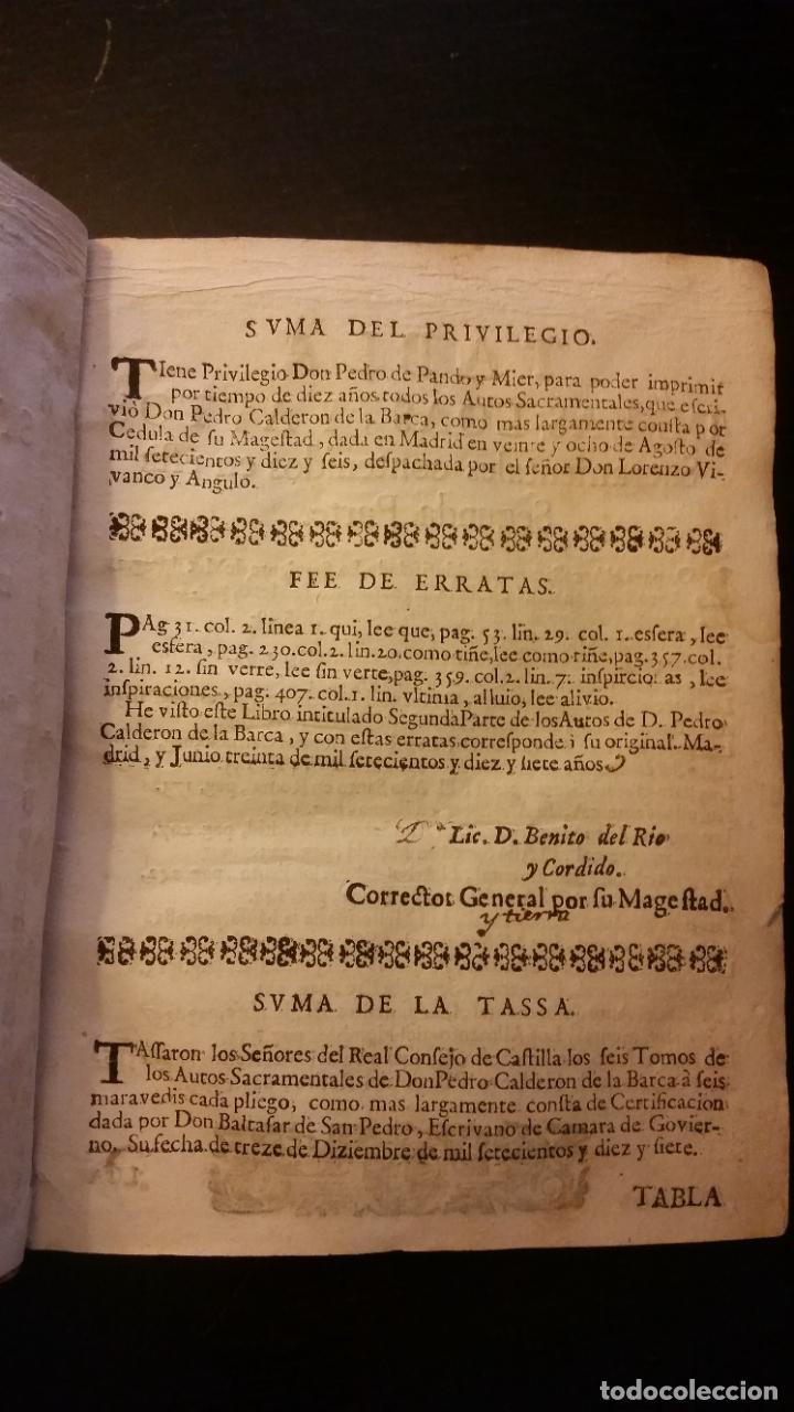Libros antiguos: 1717 - CALDERON DE LA BARCA. Autos sacramentales, alegóricos e historiales. Obras posthumas II - Foto 3 - 286524518