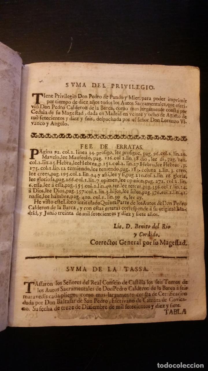 Libros antiguos: 1717 - CALDERON DE LA BARCA. Autos sacramentales, alegóricos e historiales. Obras posthumas V - Foto 3 - 286524788