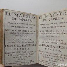 Libros antiguos: LIBRERIA GHOTICA. COLECCIÓN DE DRAMAS DEL SIGLO XVIII. TEXTO BILINGÜE. ESPAÑOL Y ITALIANO. PERGAMINO. Lote 287610348