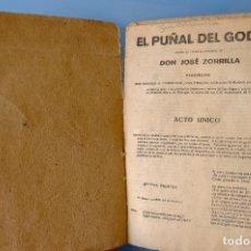 Libros antiguos: EL PUÑAL DEL GODO. JOSÉ ZORRILLA. 1919. CUBIERTA DE CARTÓN COSIDA. CON ANOTACIONES Y TACHADOS. Lote 294087158
