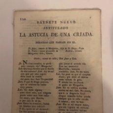 Livros antigos: SAINETE NUEVO -LA ASTUCIA DE UNA CRIADA- NÚM 120 VALENCIA. Lote 294105548