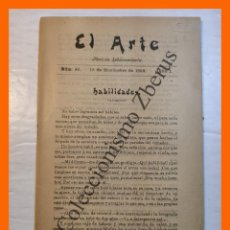 Libros antiguos: EL ARTE. REVISTA HEBDOMADARIA. Nº 46 - AÑO I - 18 NOVIEMBRE 1899. Lote 295492358