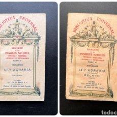 Libros antiguos: LEY AGRARIA. TOMOS I Y II. PELAYO. BIBLIOTECA UNIVERSAL. COLECCION MEJORES AUTORES. MADRID, 1927. Lote 295531018