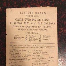 Libros antiguos: SAYNETE NUEVO -CADA UNO EN SU CASA Y DIOS EN LA DE TODOS- AÑO 1814. Lote 295716573