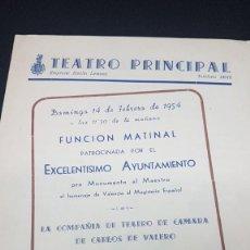 Libros antiguos: FOLLETO TEATRO PRINCIPAL 1954 VALENCIA A828. Lote 295738593