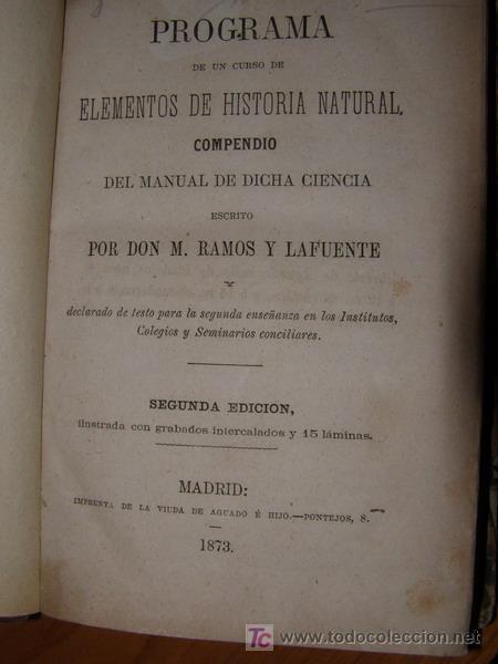 Libros antiguos: Libro: RAMOS. PROGRAMA DE HISTORIA NATURAL, año 1873 - Foto 3 - 4902385