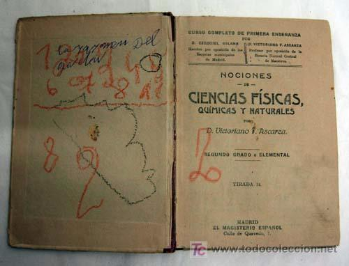 Libros antiguos: Nociones de Física Química e Historia Natural Ascarza Magisterio Español años 20 - Foto 2 - 5999081