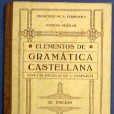 Libros antiguos: ELEMENTOS DE GRAMÁTICA CASTELLANA. IMPRENTA Y LIBRERIA DE RAMÓN BONET. OLOT, 1915.. Lote 23056431