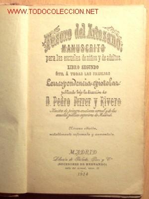 Libros antiguos: TESORO DEL ARTESANO, LIBRO SEGUNDO - PEDRO FERRER Y RIVERO - AÑO 1914 - Foto 2 - 19061575