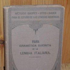 Libros antiguos: GRAMÁTICA SUCINTA DE LA LENGUA ITALIANA POR LUIGI PAVÍA DE JULIO GROOS EN HEIDELBERG 1927 7ª EDICIÓN. Lote 19938828