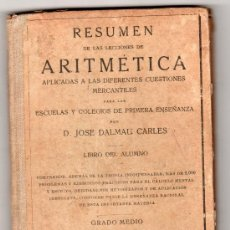 Libros antiguos: RESUMEN DE LAS LECCIONES DE ARITMETICA POR D. JOSE DAMAU CARLES GRADO MEDIO 113ªED. GERONA 1928. Lote 14392940