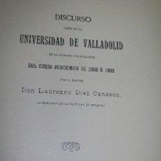Libros antiguos: DISCURSO LEIDO EN LA UNIVERSIDAD DE VALLADOLID, EN LA SOLEMNE INAUGURACIÓN DEL CURSO ACADÉMICO-. Lote 17554560