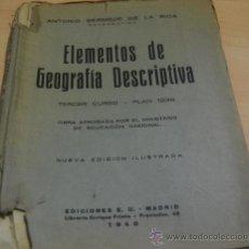 Libros antiguos: ELEMENTOS DE GEOGRAFIA DESCRIPTIVA. TERCER CURSO. PLAN 1938. Lote 27244204