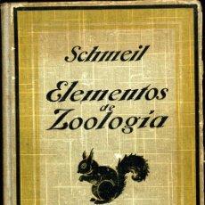 Libros antiguos: ELEMENTOS DE ZOOLOGIA POR DR. OTTO SCHMEIL ED. GUSTAVO GILI. Lote 22871946