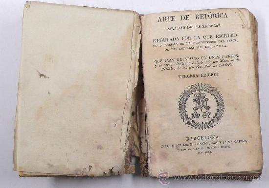 Libros antiguos: arte de retórica para uso de las escuelas, 3º ed. barcelona 1823. Tamaño libro: 15,5 x 11 cm. - Foto 2 - 25383586