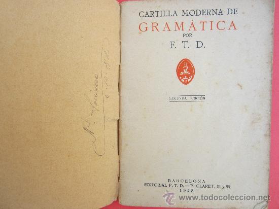 Libros antiguos: cartilla moderna de gramatica , 1928 editorial FTD , libro escolar - Foto 2 - 30174256