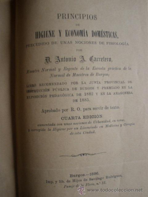 Libros antiguos: PRINCIPIOS DE HIGIENE Y ECONOMIA DOMESTICA. ANTONIO CARRETERO.1896.HIJOS DE SANTIAGO RODRIGUEZ.BURG - Foto 2 - 30314980