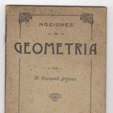 Libros antiguos: NOCIONES DE GEOMETRÍA Y AGRIMENSURA. SOLANA, EZEQUIEL. . Lote 31153368