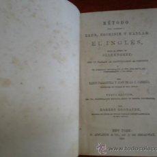 Libros antiguos: METODO PARA APRENDER INGLES, SISTEMA OLLENDORFF, NEW YORK 1865. Lote 36728769