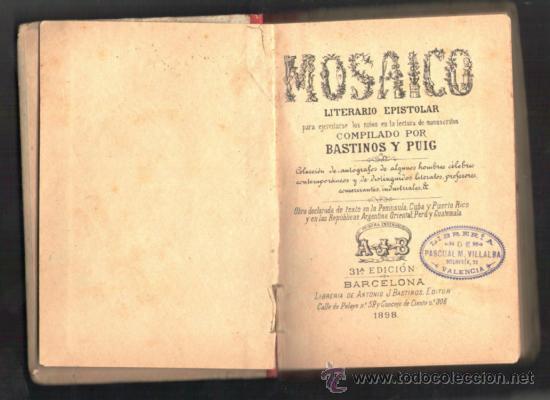 Libros antiguos: EL MOSAICO 1898 - Foto 2 - 36937927