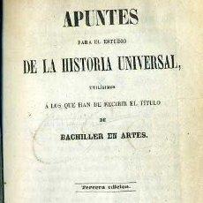Libros antiguos: PORTA : APUNTES PARA EL ESTUDIO DE LA HISTORIA UNIVERSAL (1866) PERGAMINO. Lote 37898323