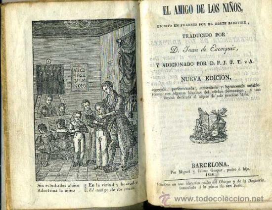 SABATIER : EL AMIGO DE LOS NIÑOS (1846) PERGAMINO (Libros Antiguos, Raros y Curiosos - Libros de Texto y Escuela)